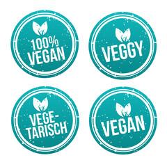 Wall Mural - Blue vegan Badge Set. German-Translation: Vegan Button und Vegetarisch Banner Set.