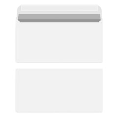 White blank envelope with self adhesive seal, vector template
