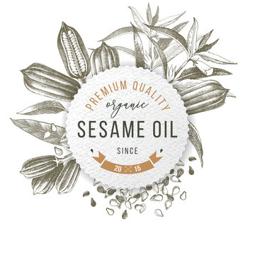 Emblem with type design, sesame plant and seeds