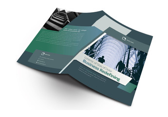 Bifold Brochure Layout with Dark Green Accents