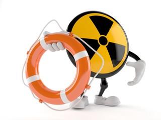 Radioactive character holding life buoy