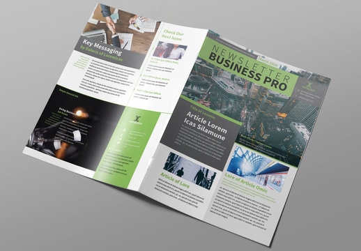 Newsletter Layout with Green Accents