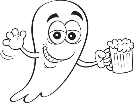 Black and white illustration of a smiling ghost holding a beer.