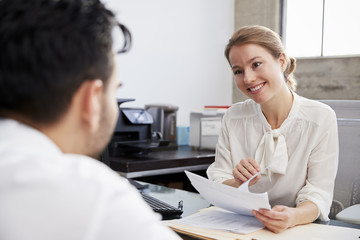 Smiling white female professional in meeting with young man