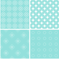 4 different baby girl seamless patterns.
