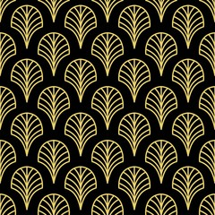 Art Deco Golden palmette seamless vector pattern