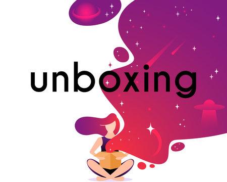 Girl open box in flat style. Cartoon character vector illustration.