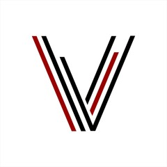 VV, VL, VI, VVV, VII, VLL initials line art geometric company logo