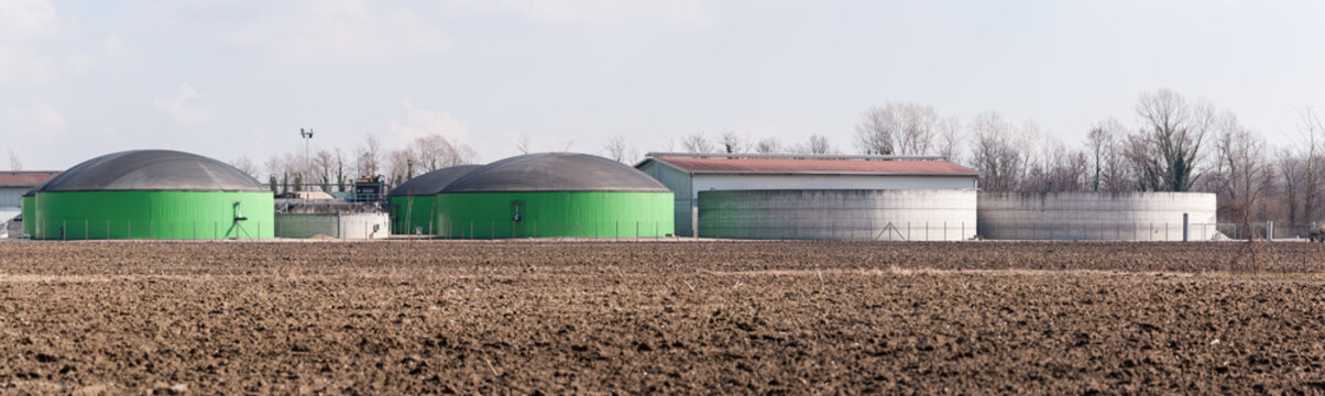 Silos of production plant of gas methane and compost from manure.