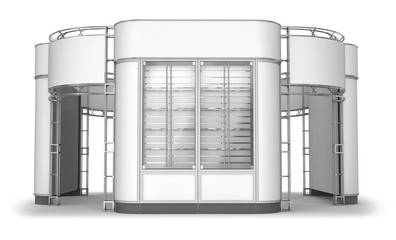 Exibition stand with semi-circular side panels and showcases. Set of 3d illustrations