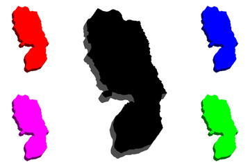 3D map of West Bank -  black, red, purple, blue and green - vector illustration