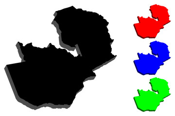 3D map of Zambia (Republic of Zambia) - black, red, blue and green - vector illustration