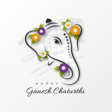 Holiday design for traditional Indian festival of Ganesh Chaturthi. Hand drawn illustration with paper cut style flowers. Grunge rangoli white background, vector illustration.