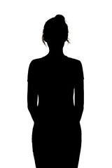 silhouette of young unknown woman on a white isolated background