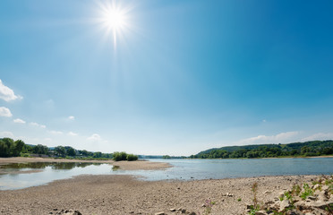 Low water level in the dried-out riverbed of the river Rhine, North Rhine-Westphalia, Germany