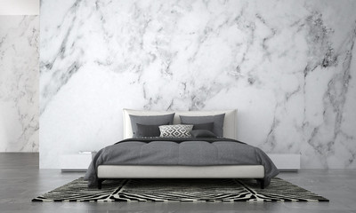 The Modern bedroom interior design and white marble wall texture background