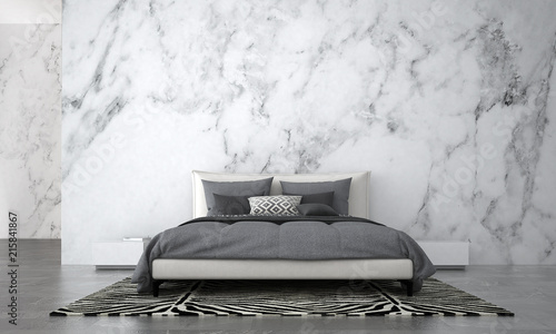 The Modern Bedroom Interior Design And White Marble Wall Texture