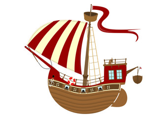 Cartoon sailing ship on a white background. Side view of fairytale ship. Flat vector.