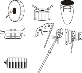Marching band equipment icon vector.
