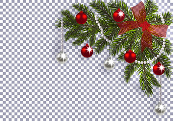 New Year. Christmas. A green branch of a Christmas tree with toys with a shadow. Corner drawing. red bow, silver and red balls on a transparent background. illustration