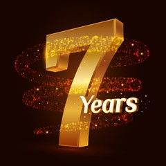 7 years golden anniversary 3d logo celebration with Gold glittering spiral star dust trail sparkling particles. Seven years anniversary modern design elements. Vector Illustration.