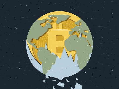 World falling apart showing Bitcoin inside, cryptocurrency popularity