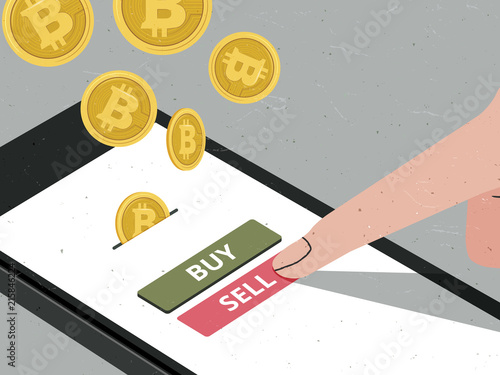 Hand pressing sell button to sell Bitcoin in mobile app