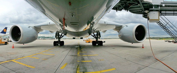 Under the belly of a big plane