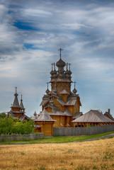 Деревянный храм в поле, монастырь, скит