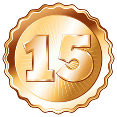 Bronze Plate - Badge with Number 15