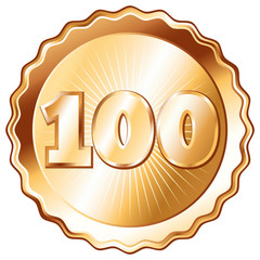 Bronze Plate - Badge with Number 100