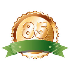 Bronze Plate with Green Ribbon - Badge with Number 85