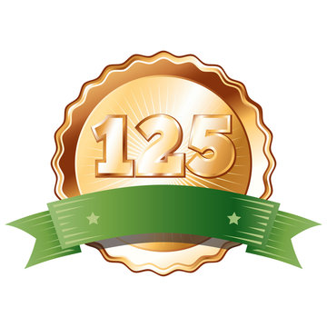 Bronze Plate with Green Ribbon - Badge with Number 125