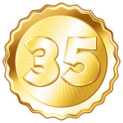 Gold Plate - Badge with Number 35.