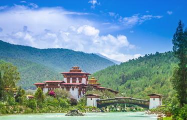 Punakha Dzong Monastery, one of the largest monestary in Asia, Punakha, Bhutan Wall mural
