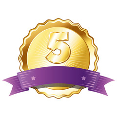 Gold Plate - Badge with Number 5 with a Purple Ribbon.