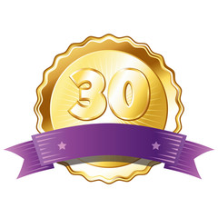 Gold Plate - Badge with Number 30 with a Purple Ribbon.