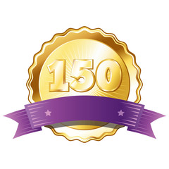 Gold Plate - Badge with Number 150 with a Purple Ribbon.