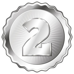 Silver Plate - Badge with Number 2.
