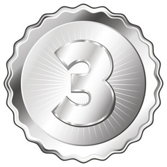 Silver Plate - Badge with Number 3.