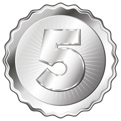 Silver Plate - Badge with Number 5.