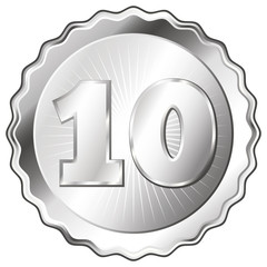 Silver Plate - Badge with Number 10.