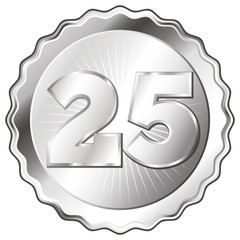 Silver Plate - Badge with Number 25.