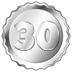 Silver Plate - Badge with Number 30.