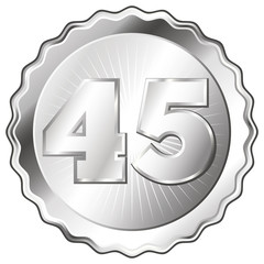 Silver Plate - Badge with Number 45.