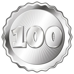 Silver Plate - Badge with Number 100.