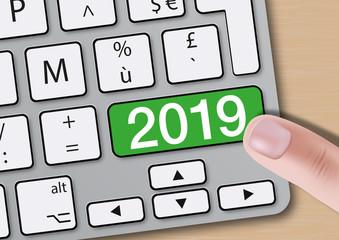 2019 - clavier d'ordinateur - présentation - objectif - carte de vœux - challenge - entreprise - année
