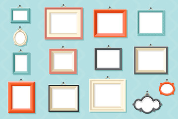 Vintage frame photo picture painting drawing template icons set wall background flat design vector illustration