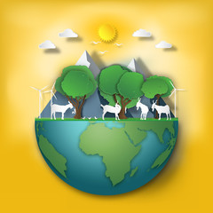 The animals in forest as love nature, World Wildlife day , Paper art and craft style concept. vector illustration.