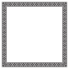 Square frame with geometric, Georgian ethnic pattern. Black and white colors, embroidery style.
